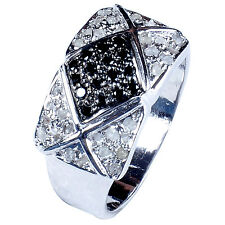 0.96+ct RAW ROUGH BLACK & WHITE NATURAL DIAMOND .925 SILVER MEN'S RING SIZE 7.5