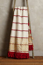 NWT$128 Anthropologie Tiveden Fringe Throw Blanket Red & Gold Metallic Wool