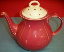 """Vintage Waechtersbach Pink Teapot White Lid With Pink Dots Spain 6 3/4""""T to Rim"""