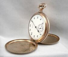 c1920 Vintage ELGIN Hunter Case Pocket Watch GOLD FILLED Antique Size 16s 15j
