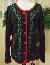 Basic Editions Holiday Cardinal Holly Christmas Sweater M Fun Ugly? Wear w/Jeans