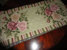 VICTORIAN TAPESTRY GREEN PINK FLORAL STRIPE TABLE RUNNER WITH TASSELS 12 X 58