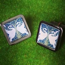 Unique! SWAN DESIGN CUFFLINKS chrome ART NOUVEAU designer GIFT gorgeous design