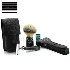 DELUXE CUT THROAT WOOD HANDLE DE SAFETY RAZOR SHAVING GIFT SET- BRUSH COVERS