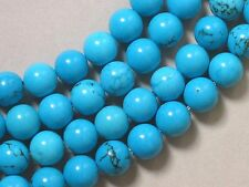 "Gemstone Blue Turquoise Howlite 8mm Round Loose Beads 3.75"" Strand 12 beads"