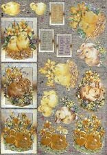 Fluffy Yellow Chicks  Dufex 3d Decoupage Card Making Paper Craft CUTTING REQ