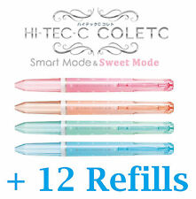 4x RARE Coleto SWEET MODE Pens + 12 Refill Cute Limited Edition Hi tec c Pilot