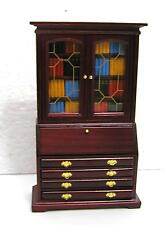 Dolls House  1:12  Furniture Mahogany Colour Bureau Bookcase with book