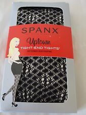 NWT $42 SPANX Uptown Tight-End Body Shaping Patterned Tights Black Diamond Sz C