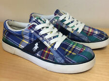 POLO Ralph Lauren Women's Madras Blue Plaid Tennis Sneaker Pony Shoes Sz 6 6 1/2