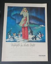 Original Print Ad 1947 TEXTRON Highlights for Winter Whites Siebel Art Vintage