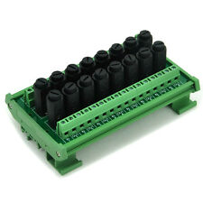 16 Channel Fuse Interface Module, Din Rail Mount, for 5x20mm Tube Fuse.