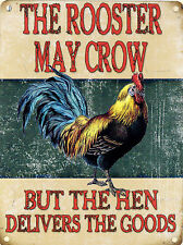 New 15x20cm ROOSTER MAY CROW hen vintage enamel style tin metal advertising sign