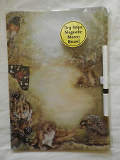 MOUSE, DEER, HEDGEHOG WILDLIFE DRY WIPE MAGNETIC FRIDGE MEMO BOARD WITH PEN.NEW