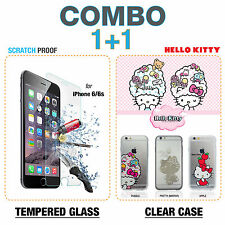 COMBO DEAL iPhone 6 / 6s HELLO KITTY Bubble clear case+ Glass Screen Protector