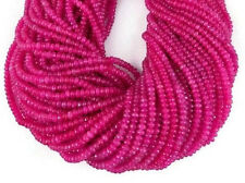 """2 Strands Pink Chalcedony Gemstone Faceted Rondelle Beads 4mm Bead 13.5"""" Long"""