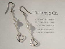 Tiffany & Co Sterling Silver Elsa Peretti Open Heart Pearl Drop Earrings