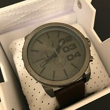 Diesel Men's Brown Leather Gunmetal Advanced Chronograph Watch DZ4210 NWT
