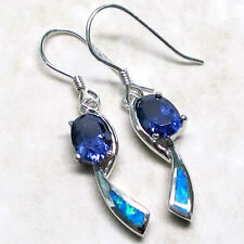 CLASSY 2 CT TANZANITE BLUE OPAL 925 STERLING SILVER HOOK EARRINGS