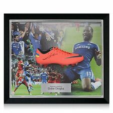 Framed Didier Drogba Signed Champions League Final Shoe Autographed Soccer Cleat