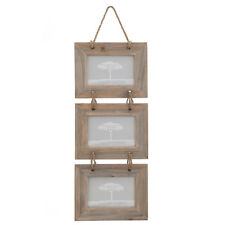 Three Hanging Rustic Wooden Rope Photo Picture Frame 6 x 4""