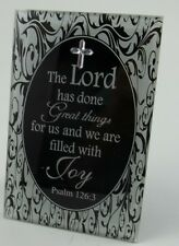 "Lord Psalm 126:3  Poem Glass/Mirror Mini Word Plaque 4 3/4"" x 3 1/8"" Religious"
