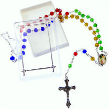 Catholic glass Missionary rosary beads necklace Guardian angel junction red blue
