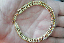 """18kt GOLD BRACELET Yellow Gold Filled Durable Links Big Clasp 8 1/2"""" Sharp! NEW!"""