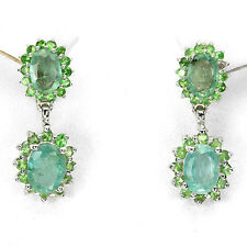28 CTS! EXCELLENT NATURAL TRANSLUCENT BRAZILIAN EMERALD & TSAVORITE 925 EARRINGS