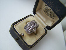 GORGEOUS VINTAGE 9CT GOLD STERLING SILVER MARCASITE RING SIZE L 5 1/2 UNUSUAL
