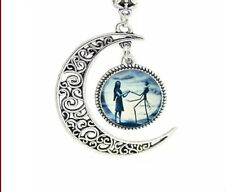 "Blue Moon Crescent 925 Sterling Silver Pendant With 22-24"" Chain Necklace Love"