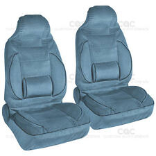 Blue 2pc High Back Bucket Seat Covers Set - Built-In Lumbar Support Cushion