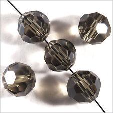 Set di 10 perle di SFACCETTATE 10mm in cristallo di Boemia Black Diamond