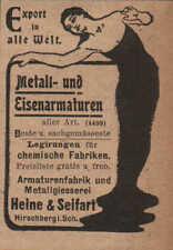 HIRSCHBERG, Werbung / Anzeige 1902, Heine&Seifart Metall-Eisenamaturen