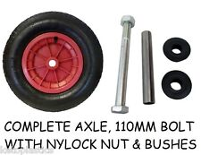 "14"" PNEUMATIC  WHEELBARROW WHEEL / INFLATABLE TYRE 3.50/4.00-8 + AXLE"