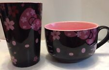Sanrio Hello Kitty Japanese Sakura Pink Soup Bowl & Cup Set with Green Tea