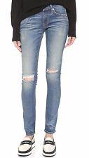 rag & bone /JEAN Skinny 'Little Five' Stretchy Rip Knee Blue Denim Size: 27