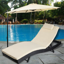Adjustable Pool Chaise Lounge Chair Outdoor Patio Furniture PE Wicker W/Cus