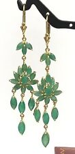 14k Solid Yellow Gold Leverback Cluster Dangle Earrings,Natural Emerald 5.5TCW