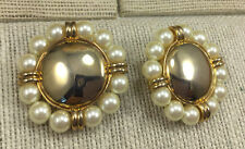 Vintage AVON Earrings Large Cast goldtone metal Button Clip On Pearl Surround