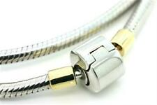 23cm, 14ct Solid Gold & 925 Sterling Silver Bracelet - Fits Euro Beads Charms