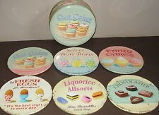 Martin Wiscombe Retro Shabby Vintage Set of 6 Cup Cake Coasters in a Storage Tin