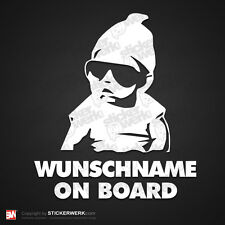0568 | Aufkleber WUNSCHNAME ON BOARD | Sticker Hangover Baby Kind an Bord