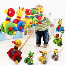 Wooden Colorful Kids Developmental Toy Animal Pattern Baby Push Along Walker Toy