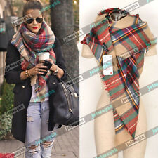NWT Authentic ZARA Blanket Oversized Tartan Scarf Wrap Plaid Cozy Checked
