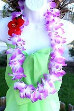 TWO Hawaiian Hawaii Flower Lei Hula Luau Party Favor Necklace PURPLE QTY 2 LEIS