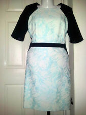 "M&S ""Speziale"" - Black/AQUA cotton-rich FLORAL Jacquard DRESS - uk 14 - bnwt £89"