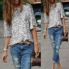 Women Off-shoulder Glistening Sequin Slim Shirt Tops Blouses Casual Tee Size6-16