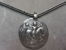 Rare Sterling Silver Persian Wheat Necklace w/ Large round Sumerian God Pendant