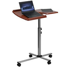 Laptop Table Stand Rolling Desk Cart Adjustable Angle Height Work Station O